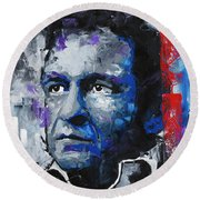 Johnny Cash II Round Beach Towel
