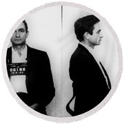 Johnny Cash Mug Shot Horizontal Round Beach Towel