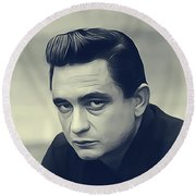 Johnny Cash, Music Legend Round Beach Towel