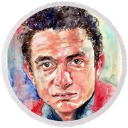 Johnny Cash Portrait Round Beach Towel