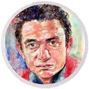 Johnny Cash Portrait Round Beach Towel