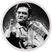 Johnny Cash Round Beach Towel by Taylan Apukovska