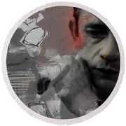 Johnny Cash - The Man Comes Around  Round Beach Towel