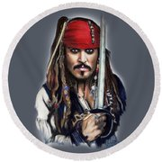 Johnny Depp As Jack Sparrow Round Beach Towel by Melanie D