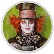 Johnny Depp As Mad Hatter Round Beach Towel