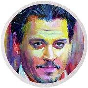 Johnny Depp Colors Portrait Round Beach Towel