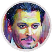 Johnny Depp Colors Portrait Round Beach Towel
