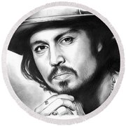 Johnny Depp Round Beach Towel by Greg Joens