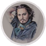 Johnny Depp Round Beach Towel