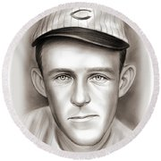 Johnny Evers Round Beach Towel by Greg Joens