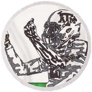 Johnny Manziel 10 Change The Play Round Beach Towel by Jeremiah Colley