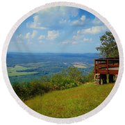 John's Mountain Overlook Round Beach Towel