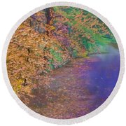 John's Pond In The Fall Round Beach Towel