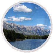 Johnson Lake, Ab  Round Beach Towel by Heather Vopni