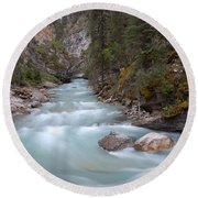 Johnston Canyon In Banff National Park Round Beach Towel by RicardMN Photography