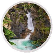 Johnston Canyon - Lower Waterfall Round Beach Towel