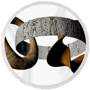 Round Beach Towel featuring the sculpture Join Circles by R Muirhead Art