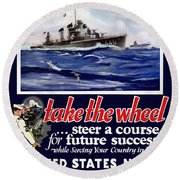 Join The Us Navy - Ww2 Round Beach Towel