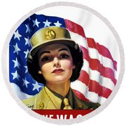 Join The Wac Now - World War Two Round Beach Towel