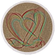 Joined At The Heart Round Beach Towel
