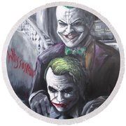 Jokery In Wayne Manor Round Beach Towel by Tyler Haddox