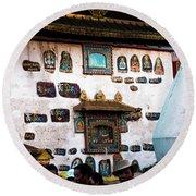 Jokhang Temple Wall Lhasa Tibet Artmif.lv Round Beach Towel