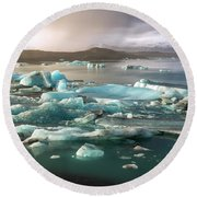 Jokulsarlon The Magnificent Glacier Lagoon, Iceland Round Beach Towel