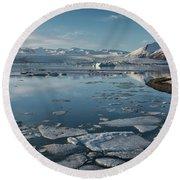 Round Beach Towel featuring the photograph Jokulsarlon Ice Lagoon - Iceland by Sandra Bronstein