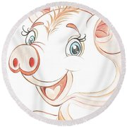Jolly Miss Piggy Round Beach Towel by Teresa White