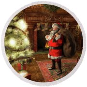 Round Beach Towel featuring the painting Jolly Old Saint Nicholas II by Dave Luebbert
