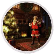 Round Beach Towel featuring the painting Jolly Old St. Nicholas by Dave Luebbert