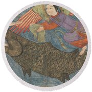 Jonah And The Whale Round Beach Towel by Iranian School