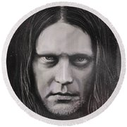 Round Beach Towel featuring the drawing Jonas P Renkse Musician From Katatonia Band By Julia Art by Julia Art