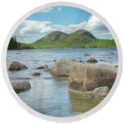 Jordan Pond And The Bubbles Round Beach Towel