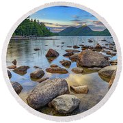 Jordan Pond And The Bubbles Round Beach Towel by Rick Berk