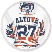 Jose Altuve Houston Astros Pixel Art 10 Round Beach Towel
