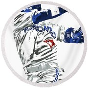 Jose Bautista Toronto Blue Jays Pixel Art 2 Round Beach Towel by Joe Hamilton