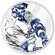 Jose Bautista Toronto Blue Jays Pixel Art Round Beach Towel by Joe Hamilton