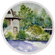 Jose Moya Del Pino Library At Marin Arts And Garden Center Round Beach Towel by Tom Simmons