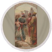 Round Beach Towel featuring the painting Joseph And His Breathren by Peter Gumaer Ogden