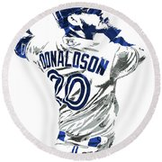 Josh Donaldson Toronto Blue Jays Pixel Art Round Beach Towel