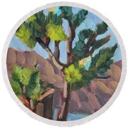 Round Beach Towel featuring the painting Joshua At Keys Ranch by Diane McClary