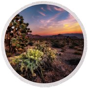Joshua Tree And Cactus At Sunset Round Beach Towel
