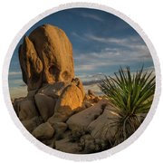 Round Beach Towel featuring the photograph Joshua Tree Rock Formation by Ed Clark
