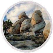 Joshua Tree Rock Formations At Dusk  Round Beach Towel