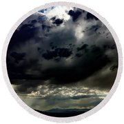 Joshua Tree Storm Round Beach Towel by Chris Tarpening