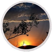 Joshua Tree Sunset Round Beach Towel by Chris Tarpening