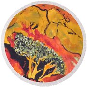 Joshua Trees In The Negev Round Beach Towel by Esther Newman-Cohen