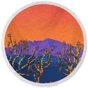 Joshua Trees Round Beach Towel by Mayhem Mediums