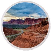 Journey Through Capitol Reef Round Beach Towel